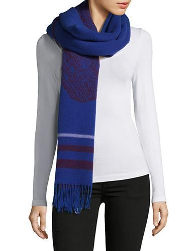 Weekend Max Mara Wool Stripe Fringe Scarf-BLUE-One Size