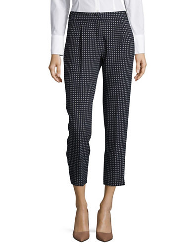 Weekend Max Mara Cropped Check Pants-ULTRAMARINE-EUR 46/US 12
