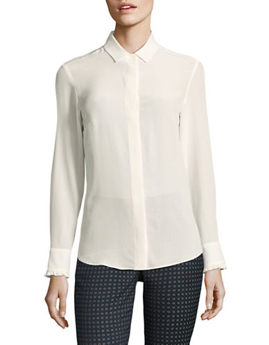 Weekend Max Mara Alarico Ruffled Silk Blouse-WHITE-EUR 48/US 14