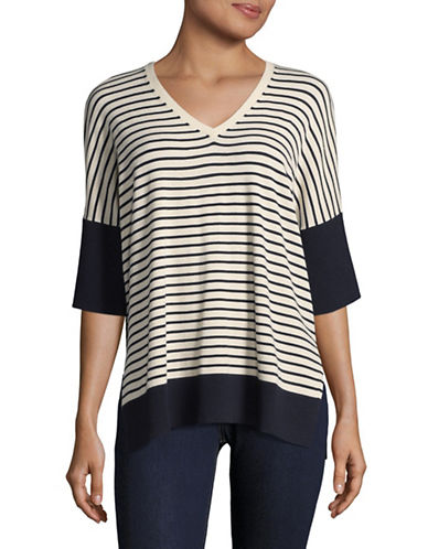 Weekend Max Mara Striped V-Neck Sweater-SAND/BLACK-X-Small