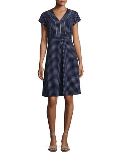 Weekend Max Mara Diamond Print A-Line Dress-ULTRAMARINE-EUR 44/US 10