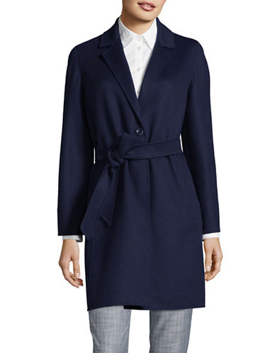 Max Mara Studio Dilly Belted Wool-Blend Coat-BLUE-EUR 36/US 2