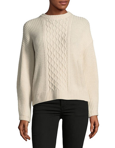Weekend Max Mara Wool Cable-Knit Sweater-WHITE-XX-Large