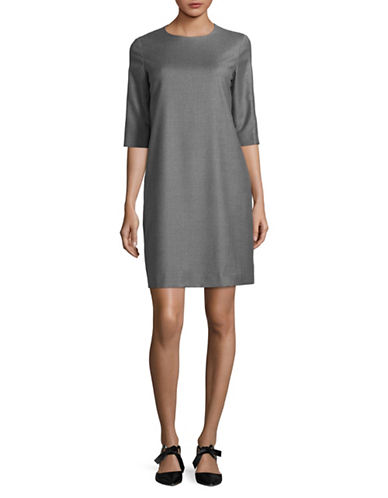 Max Mara Studio Simone Stretch-Wool Shift Dress-GREY-EUR 46/US 12
