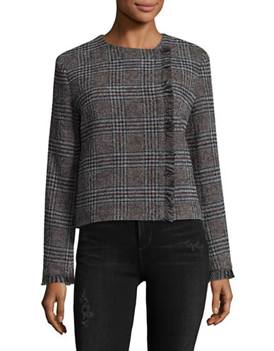 Weekend Max Mara Visiera Glen Plaid Virgin Wool-Blend Blazer-BLUE-EUR 46/US 12