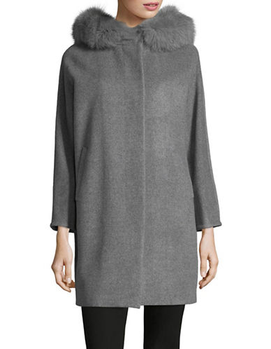 Max Mara Studio Latte Wool, Silk and Angora-Blend Coat-GREY-EUR 50/US 16