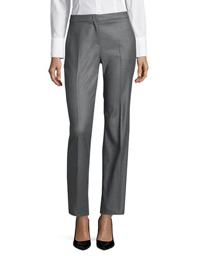 Max Mara Studio Azoto Wool-Blend Long Pants-GREY-EUR 44/US 10