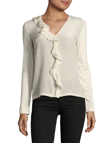 Weekend Max Mara Tiered Ruffle Blouse-WHITE-X-Small