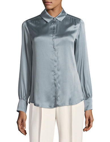 Weekend Max Mara Beati Stretch Silk Blouse-BLUE-EUR 50/US 16