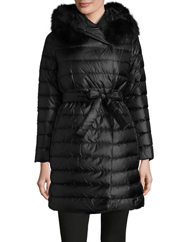 Max Mara Studio Piovra Fur Trimmed Quilted Jacket-BLACK-EUR 46/US 12