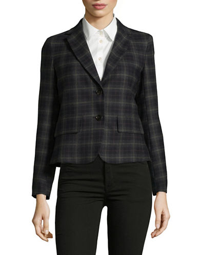 Weekend Max Mara Lastra Plaid Wool Jacket-BLUE-EUR 44/US 10