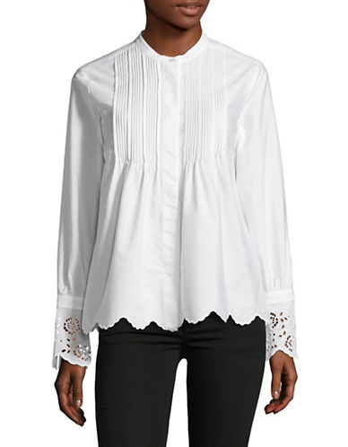 Weekend Max Mara Crochet Detail Cotton Shirt-WHITE-EUR 40/US 6
