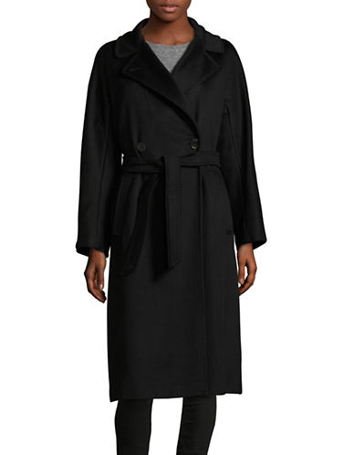 Weekend Max Mara Rostov Virgin Wool Trench Coat-BLACK-EUR 42/US 8