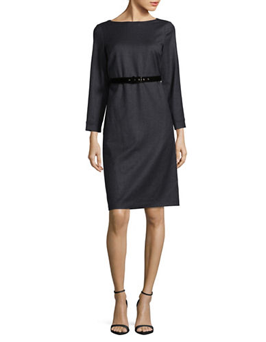 Weekend Max Mara Lampara Stretch Virgin Wool Sheath Dress-BLUE-EUR 44/US 10