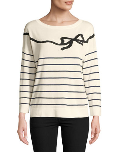 Weekend Max Mara Silk-Blend Bow Sweater-WHITE-Small