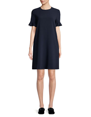Max Mara Studio Short Sleeve Ruffle Dress-NAVY-EUR 48/US 14