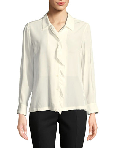 Weekend Max Mara Silk Ruffle Front Button-Down Blouse-WHITE-EUR 48/US 14