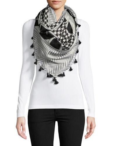 Weekend Max Mara Geometric Print Silk Scarf-BLACK-One Size
