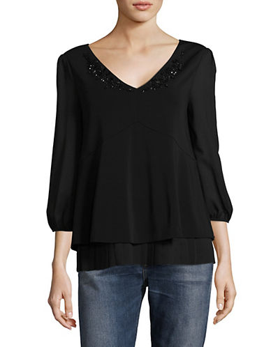 Max Mara Studio Teca Embellished Pleated Blouse-BLACK-Medium