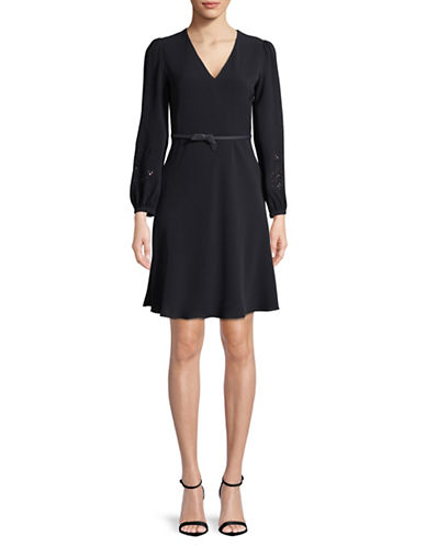 Max Mara Studio Juglas V-neck Dress-NAVY-EUR 46/US 12