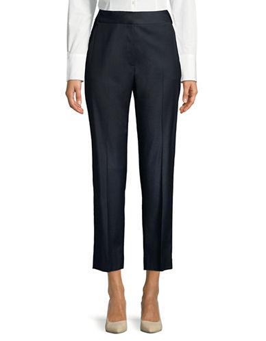 Weekend Max Mara Wool-Blend Cigarette Trousers-NAVY-EUR 42/US 8