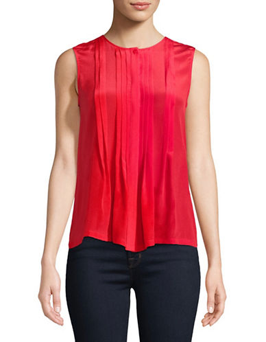Weekend Max Mara Brava Pleated Silk Top-RED-Large