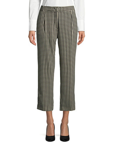 Weekend Max Mara Patterned Cigarette Trousers-BLACK-EUR 46/US 12