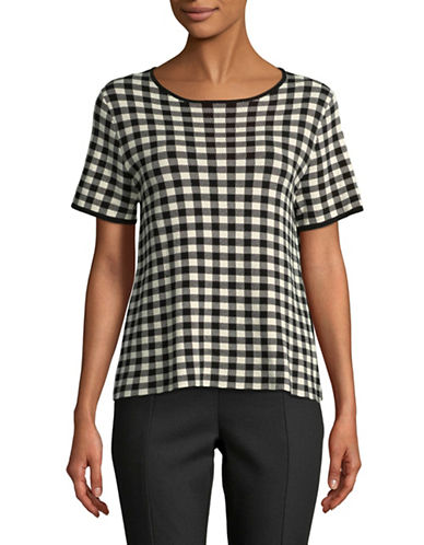 Weekend Max Mara Checked Print Top-BLACK-X-Small