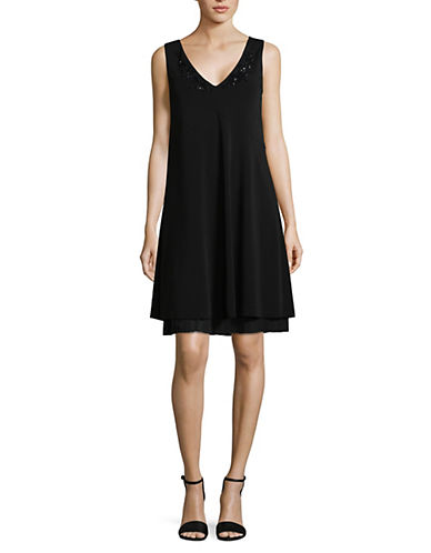 Max Mara Studio Ottanta A-Line Embellished Dress-BLACK-XX-Large