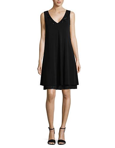Max Mara Studio Ottanta A-Line Embellished Dress-BLACK-Large
