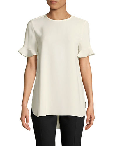Max Mara Studio Short Sleeve Ruffle Blouse-CREAM-EUR 50/US 16