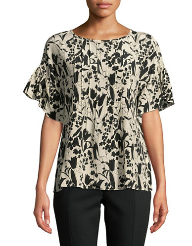 Weekend Max Mara Floral Patterned Silk Top-BEIGE-EUR 36/US 2