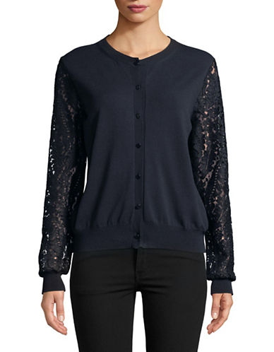 Max Mara Studio Lace Sleeve Cardigan-NAVY-Small