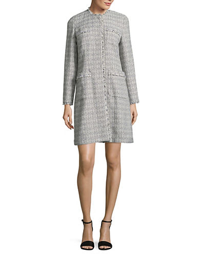 Weekend Max Mara Vicini Tweed Long Jacket-ULTRAMARIN-EUR 38/US 4