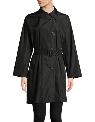 Weekend Max Mara Single Breasted Trench Raincoat-BLACK-EUR 48/US 14