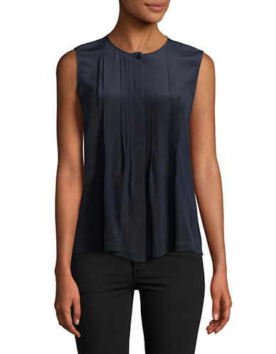 Weekend Max Mara Brava Pleated Silk Top-NAVY-Medium