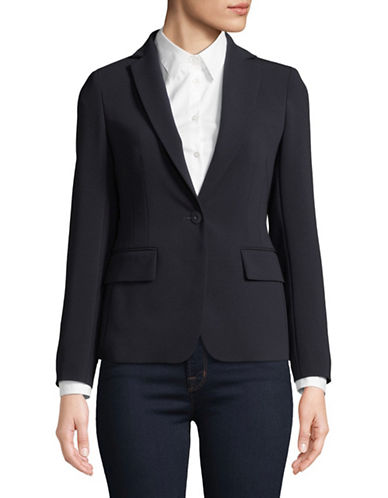 Max Mara Studio Single Button Scatola Blazer-NAVY-EUR 44/US 10