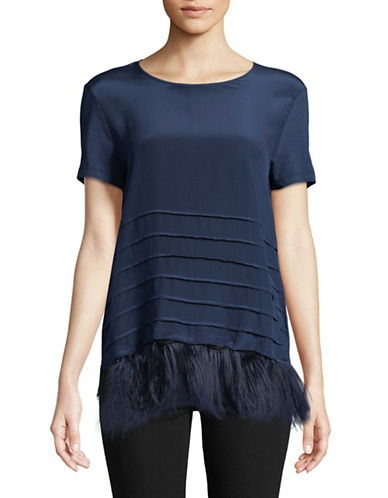 Weekend Max Mara Feathered Short Sleeve Top-NAVY-X-Large