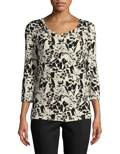 Weekend Max Mara Printed Jersey Cowl Neck-IVORY MULTI-Medium