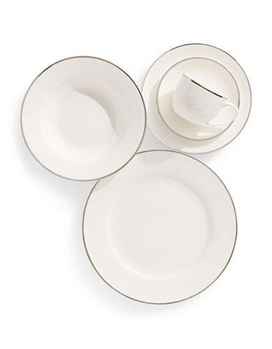 Glucksteinhome Prescott Platinum Rim 20-Piece Bone China Dinnerware Set-WHITE-One Size