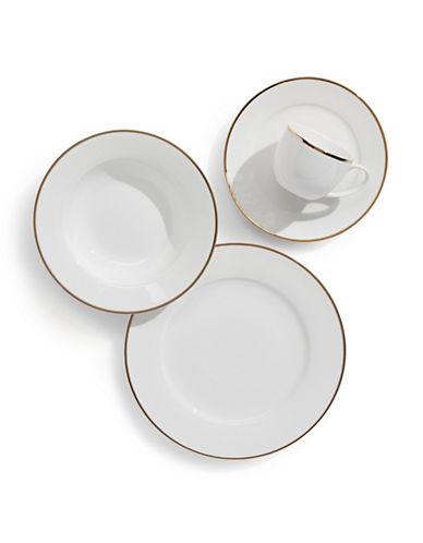 Glucksteinhome Prescott Gold Rim 20-Piece Bone China Dinnerware Set-WHITE/GOLD-One Size