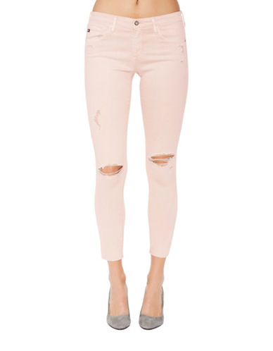 Ag Jeans Stretch Distressed Ankle Jeans-NUDE-31