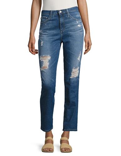 Ag Jeans Phoebe Straight Destructed Jeans-BLUE-28
