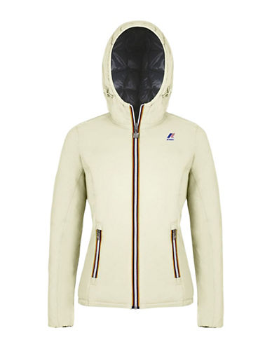 K-Way Lily Thermo Plus Double Hooded Quilted Jacket-WHITE/BLACK-X-Large 88583992_WHITE/BLACK_X-Large