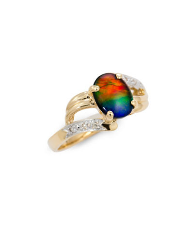 Korite Ammolite 14K Yellow Gold Ring-AMMOLITE-6