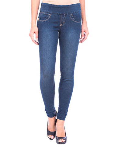 Lola Jeans Anna Mid-rise Pull-on Skinny Jeans-STONE BLUE-32