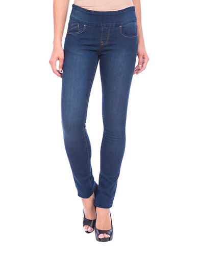 Lola Jeans Catherine Pull-On Straight Jeans-STONE BLUE-38
