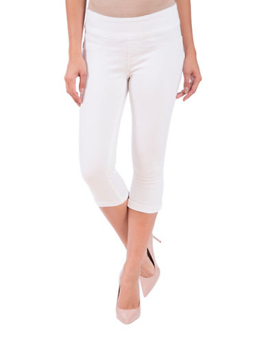 Lola Jeans Michelle Mid-Rise Pull-On Capri Jeans-WHITE-26