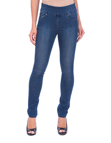 Lola Jeans Rebeccah High-Rise Pull-On Straight Jeans-MEDIUM BLUE-28