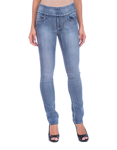 Lola Jeans Rebeccah High-Rise Pull-On Straight Jeans-MEDIUM LIGHT BLUE-42